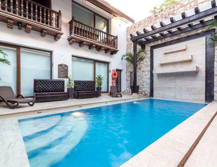 Sala abierta en casa de lujo en Cartagena Colombia