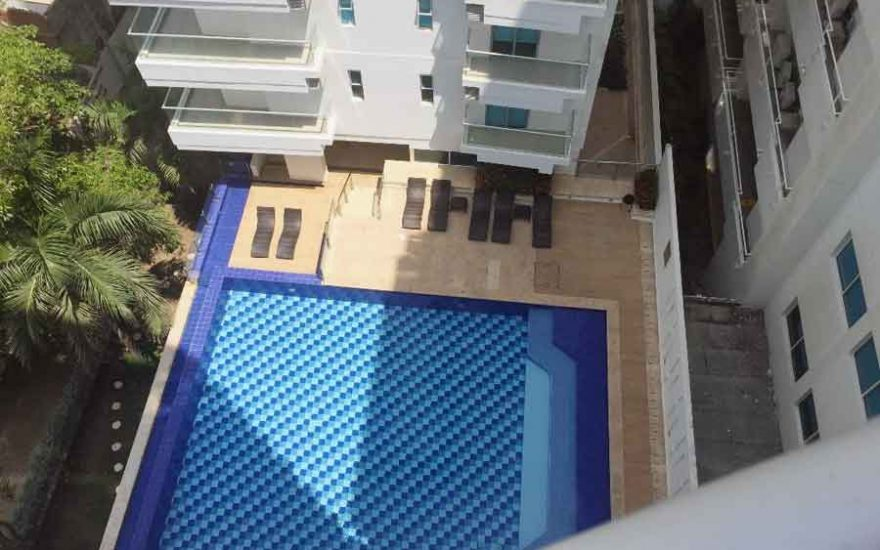 Vista áerea piscina Ed. Portovento Cartagena de Indias