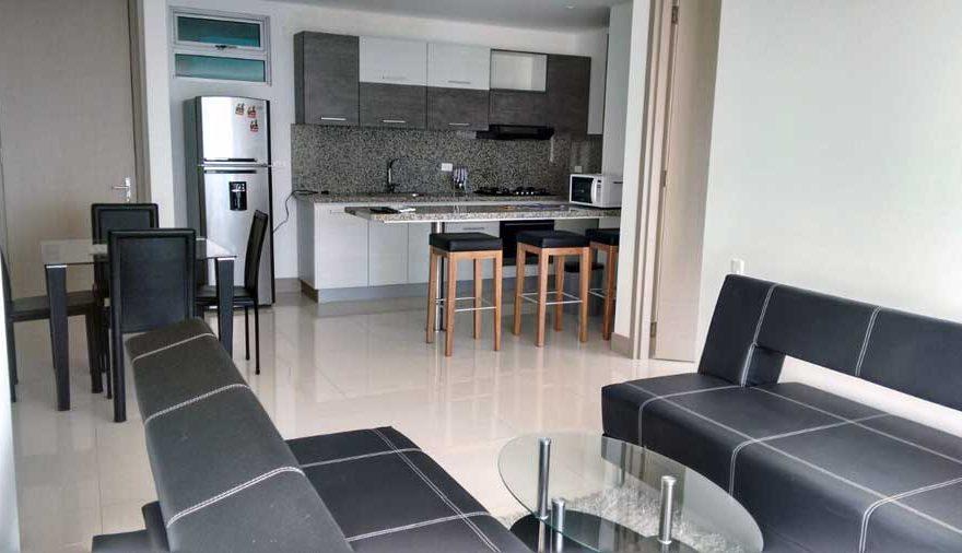 Vista de la cocina y sala desde la terraza Palmetto Beach Cartagena
