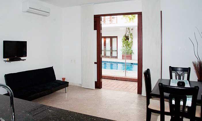 Vista Area social apartaestudio Casa del Virrey Eslava